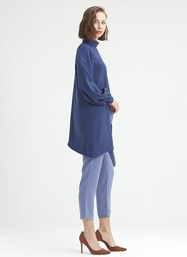 Mizalle Çift Kat Yakalı Tunik Mavi